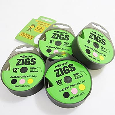 FTD - Min 6 Rigs (2 Packs/Spools of 3) KORDA READY ZIGS with Mixa Size 10 Barbless Fishing Hooks Ready Tied to 8lb/3.6kg (Available in 6ft, 8ft, 10ft & 12ft lengths) with free Hookbaits also comes with 10 FTD Hooks to Nylon