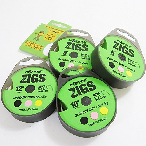 FTD - Min 6 Rigs (2 Packs/Spools of 3) KORDA READY ZIGS with Mixa Size 10 Barbless Fishing Hooks Ready Tied to 8lb/3.6kg (Available in 6ft, 8ft, 10ft & 12ft lengths) with free Hookbaits also comes with 10 FTD Hooks to Nylon (6 zigs - 12ft / 3.66m)