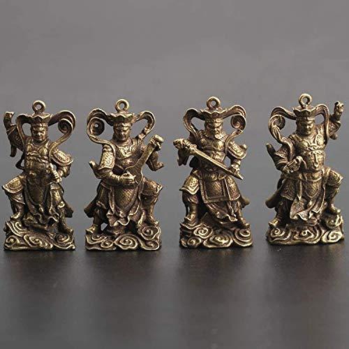 JONJUMP Llavero de cobre con cuatro colgantes de estatua de Buda para hacer cumplir la ley, adornos pequeños, decoración del hogar de la suerte