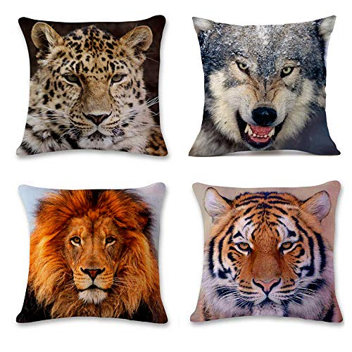 4 Pack Lindo Animal Fundas de Cojín Algodón Lino Throw Pillow Case, Decorativa Cuadrada Almohada Caso Cojínes para Sofá Cama Coche Sillas Decoración Cubierta, 45x45 cm, León Tigre Lobo Leopardo Diseño