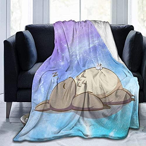 Meine Nachbar Totoro Flanell Decke Superweiche hypoallergene Plüschbett Sofá Wohnzimmer (204 x 153 cm) BLK-3601