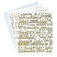 Wunderschöne Sticker in Gold, Silber und Weiß Hochwertige Qualität Selbstklebend Edle Schriftzüge: Weihnachten 4 Stickerbögen (23 cm x 10 cm)
