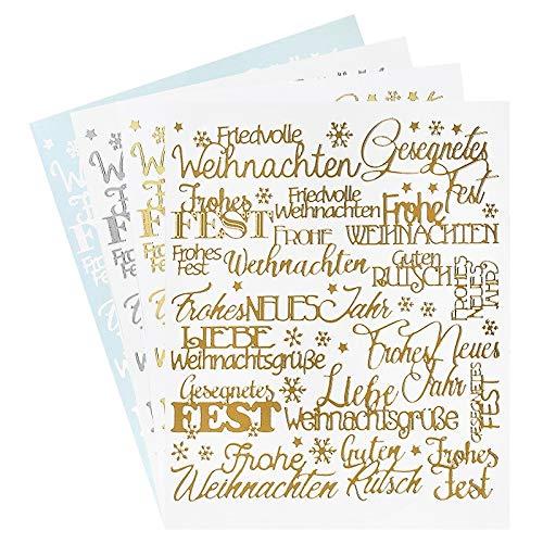 Ideen mit Herz Sticker Handlettering Art | Aufkleber | Verschiedene Schriftzüge zur Hochzeit, Liebe, Trauer, Weihnachten, Ostern UVM. | Jeweils 4 Bogen à 20 x 23 cm (Weihnachten)