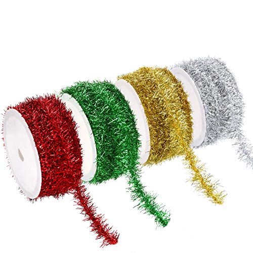 EBOOT 24 Yards 4 Colors Christmas Tinsel Wire Garland Metallic Wire Garland Twist Garland Tinsel Garland Decorations for Christmas Wedding Birthday Party Decorations Supplies