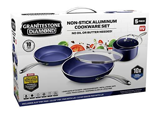 Granitestone Blue Pots and Pans Set 5 Piece Cookware Set...