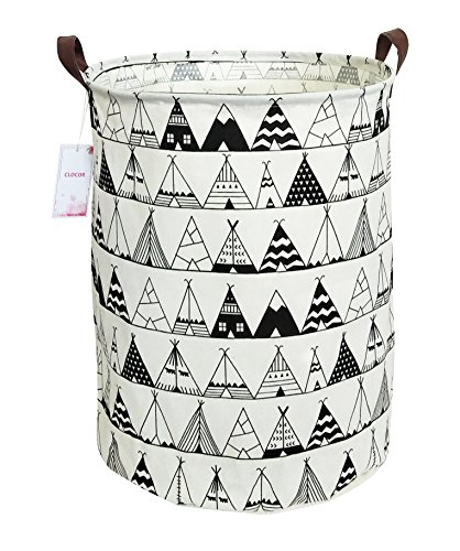 CLOCOR Laundry Basket,Laundry Hamper,Collapsible Storage Bin,Canvas Fabric Clothes Baskets,Nursery Hamper for Home,Office,Dorm,Gift Basket(Tent)