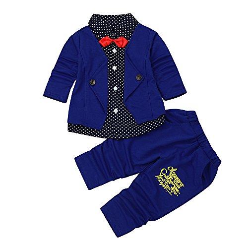 Rosennie_Baby Junge Bekleidungsset Formal Babyanzug Ausrüstungs-Set Gentleman Plaid Shirt + Hose mit Ausstattung Baby Boy Party Taufe Hochzeit Tuxedo Bow Anzug Kleidung Set (Blau A,80)