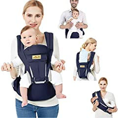 Viedouce Baby Carrier Ergonomic with Hip Seat/Pure Cotton Lightweight and Breathable/Multiposition:Dorsal, Ventral, Adjustable for Newborns and Toddlers from 3-48 months (3.5 to 20 kg)