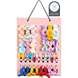 Bow Holders for Girls - Bow Organizer for Girls Hair Bows, Headband Holder for Baby Girl, Newborn Toddler Infant Bow Hanger Storage with Hook by YOUNTASY - Pink