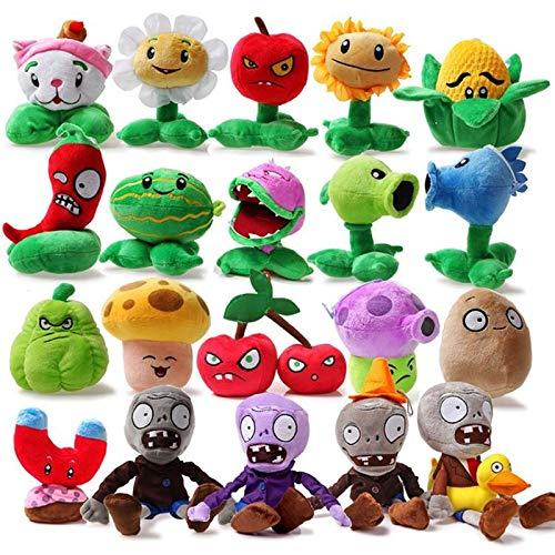 MIAOGOU Plantas Vs Zombies Juguetes De Peluche 20pcs / Lot Plants Vs Zombies Plush Stuffed Toys Plants & Zombies Pea Sunflower Plush Toy Doll para Niños Regalo Party Toys