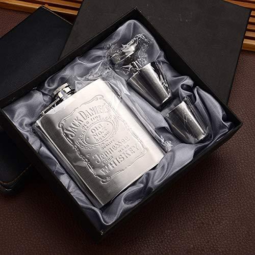 Xiaobing Fiaschetta portatile in acciaio inossidabile da 7 once piccola fiaschetta per vino bottiglia di vino con imbuto in vetro per vino -D70-7OZ