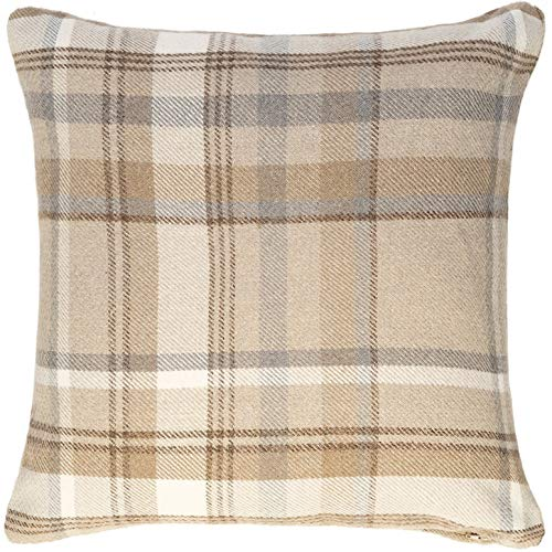 McAlister Textiles Heritage Tartan Natural Beige 43cm Cushion Cover, Elegant Check Brushed Wool Feel Throw Pillow for Bedroom Sofa Living Room and Couch 17 Inches