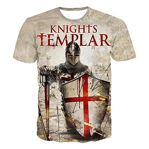 Caballeros Templarios 3D Impreso en O-Cuello Camiseta Moda Hombre Casual Manga Corta Camiseta Caballeros Caballeros Templar Streetwear Harajuku tee Tops-C3_XXS