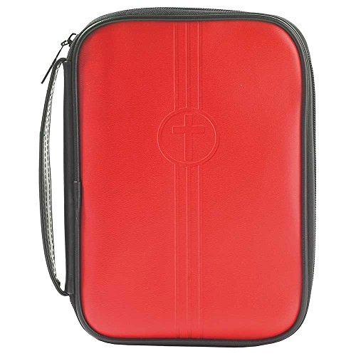 Red Embossed Cross 8.5 x 10.5 inch Leather Like Vinyl Bible Cover Case with Handle Large