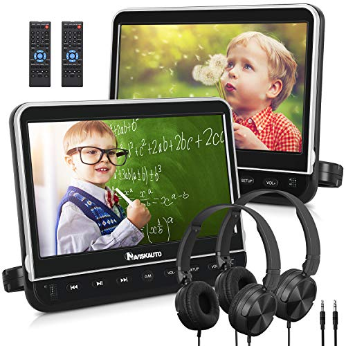 "NAVISKAUTO 10.1"" Dual Car DVD Players with 2 Headphones Mounting Bracket Support 1080P Video HDMI Input Sync Screen Region Free(2 x Headrest DVD Players)"