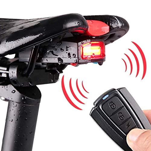 Luz Trasera de Alarma de Bicicleta Inteligente Inalámbrica,Alarma Antirrobo LED,Luz Trasera de Alarma de Bicicleta,Luz LED COB Recargable por USB, Impermeable y Control Remoto