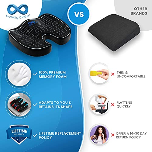 Everlasting Comfort Office Chair Seat Cushion Pillow for Back, Coccyx, & Tailbone Pain Relief Pad