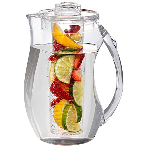 Water Infuser Pitcher – 93Oz Fruit Infusion Water Pitcher – By Home Essentials – Shatterproof Infusion Pitcher – Ideal for Iced Tea, Juice, Beverages, Water,