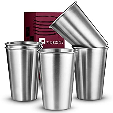 FineDine Premium Grade Stainless Steel Pint Cups Water Tumblers (5 Piece) Unbreakable, Stackable, Brushed Metal Drinking Glasses, Chilling Beer Glasses, for Travel, Outdoor, Camping, & Everyday, 16 Oz