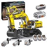 Myste Excavadora de orugas con 6 motores y 3 receptores, 2071 piezas 2,4 G RC excavadora de orugas RC, mando a distancia excavadoras bloques de construcción compatible con Lego