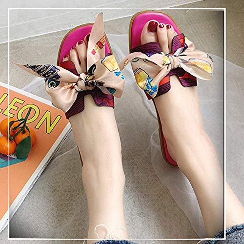 ZSW Moda Interior Mujer Zapatillas Inicio Antideslizante Zapatos Planos para Mujer Sala de Estar Zapatillas para Mujer (Color: Beige Tamaño: 39)- 37_Rosa