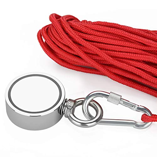 Fishing Magnets with Rope 1000LBS(453KG) Strong Magnet Double Sided Neodymium Magnet Fishing Kit Pulling Force with 20m (65 Foot) Durable Rope and Protective Gloves