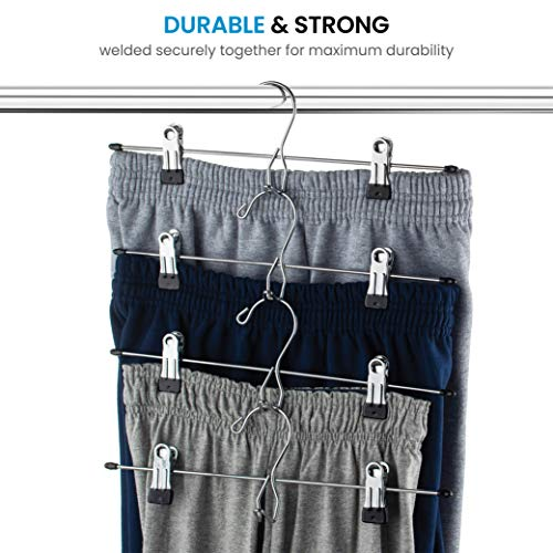 Heavy-Duty Add-On Metal Skirt Hangers with Clips 12 Pack, Multi Stackable Add on Metal Hangers, Adjustable Clip Pants Hanger, Skirt Hanger with Clips, Chrome Hook, Cascading Clip Hanger Jeans, Slacks