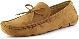 SHENTIANWEI Loafers for Men Casual Boat Shoes Slip-on Round Toe Soft Suede Upper Stitching Lug Sole Anti-Skid Lightweight (Bow&Band Optional) (Color : Brown-Bow, Size : 8.5 UK)