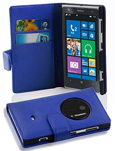 Cadorabo Custodia Libro per Nokia Lumia 1020 in BLU MARINA - con Vani di Carte e Funzione Stand di Similpelle Strutturata - Portafoglio Cover Case Wallet Book Etui Protezione