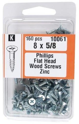 "Midwest Fastener 10061#8 x 5/8"" Phillips Flat Head Wood Screws Zinc Plated - 160 per Package"