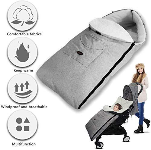 Saco Cochecito Bebe, 3 en 1 saco de Dormir del bebé Cochecito de Bebe Cubierta de pie Universal Invierno a Qrueba de Viento Mantener Caliente Miandian