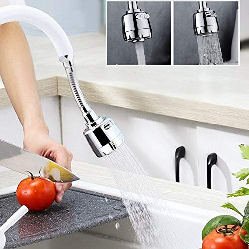 Nifogo Rubinetto rotante a 360, Dispositivo di risparmio idrico,anti Splash filtro aeratore,regolabile in tre modalità e antispreco,per cucina, bagno,