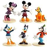 WENTS Mickey Cake Topper Mini Juego de Figuras Niños Mini Juguetes Baby Shower Fiesta de cumpleaños Pastel Decoración Suministros 6 piezas