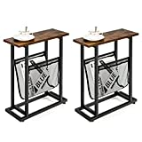 Giantex End Table Industrial 2-Tier Narrow Small Accent Table with Mesh Magazine Holder Sling, Black Steel Base, Retro Rustic Sofa Side Table for Living Room, Bedroom Nightstand (2)