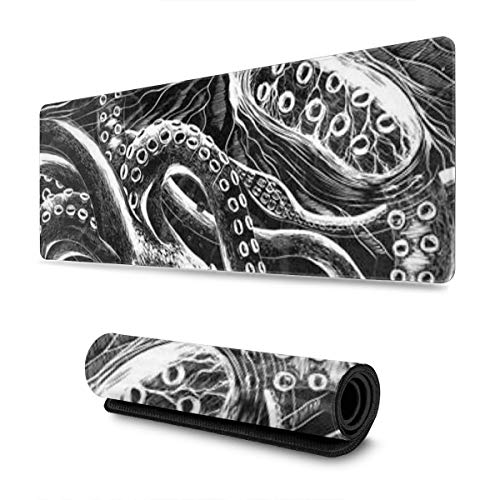 Ocean Scratchboard Art Print Larger Extended Gaming Mouse Pad Non-Slip Rubber Base Waterproof Keyboard Pad Mouse Mat for Gamer, Office & Home