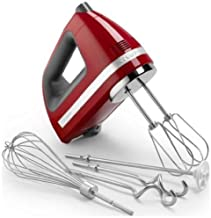 KitchenAid 9-Speed Digital Display Hand Mixer Empire Beautiful Red - With (Free Dough hooks, whisk, milk shake liquid blender rod attachment and accessory bag).