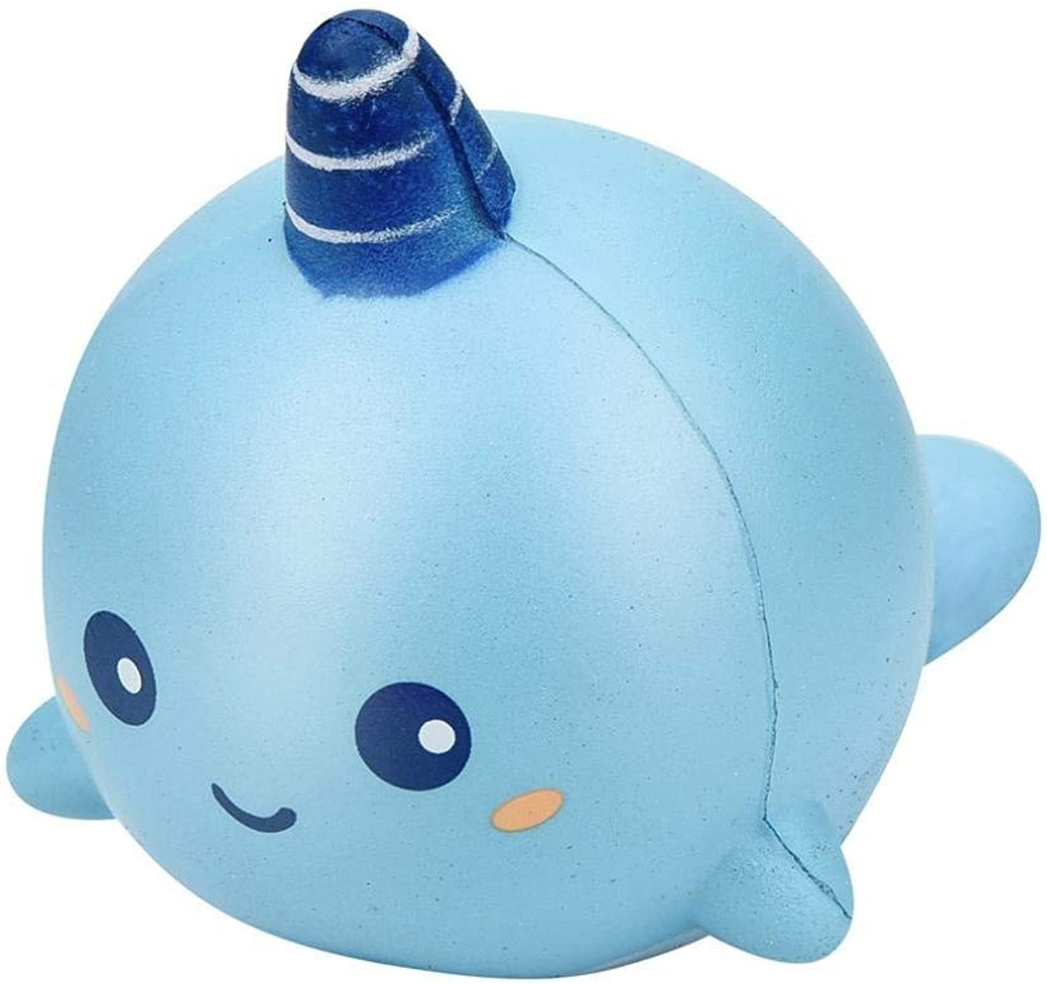 MChoice 8cm Unicorn Whale Cartoon Scented Squishy Charm Slow Rising Squeeze Toy Charm (bluee)