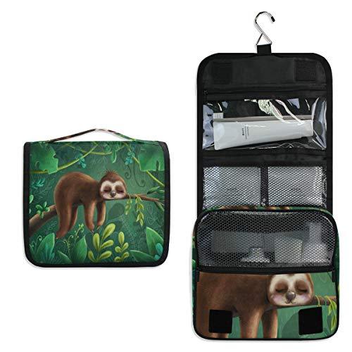 Linomo Hanging Reise Kulturbeutel für Damen und Herren, Tropisch Urwald Tier Süß Faultier Kosmetik Make-up Tasche mit Haken