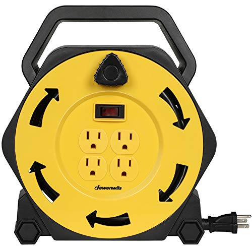 DEWENWILS Extension Cord Reel with 25 FT Power Cord, Hand Wind Retractable, 16/3 AWG SJTW, 4 Grounded Outlets, 13 Amp Circuit Breaker, Yellow/Black, UL Listed