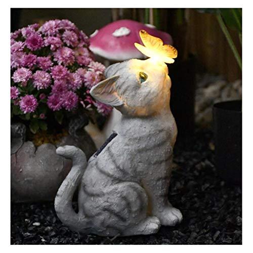 HQQ Luz Solar de decoración del Gato, luz de Mariposa, decoración de esculturas al Aire Libre, 13x27x18cm