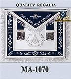 Masonic Master Mason Apron Navy Blue Silver Embroidery with Fringe