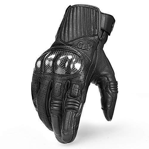 INBIKE Motorrad Handschuhe Touchscreen Sommer Winter Motorcross Motorradhandschuhe Herren Damen Kinder Aus Ziegenleder Schwarz Schwarz L