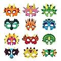 12 Felt Kids Dinosaur Party Masks Masquerade Halloween Face Mask Dinosaur Birthday Party Supplies Decorations for Toddler Boys Girls by Befun