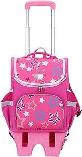 QERNTPEY Childrens School Bag Childrens Trolley Bag High Capacity Schoolbag Roller Backpack Wheel Backpack Student Climbing Stairs Three Wheels Large-Capacity Childrens School Bag