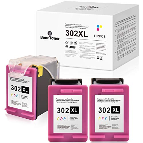 BeneToner Cartuchos de tinta compatibles para HP 302XL para HP Deskjet 1110 2130 2134 3630 3632 3634 5230 5220 Envy 4520 4521 4522 4523 4524 Officejet 30 3831 3833 4650 4651 4652 4654 (3 de color).