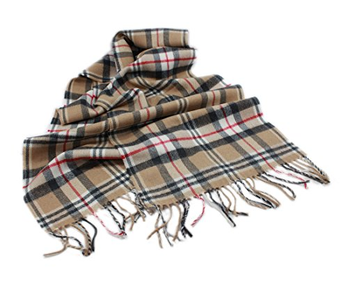 Biddy Murphy Merino Wool Scarf Camel Check Tartan 12 Inches x 72 Inches Irish Made