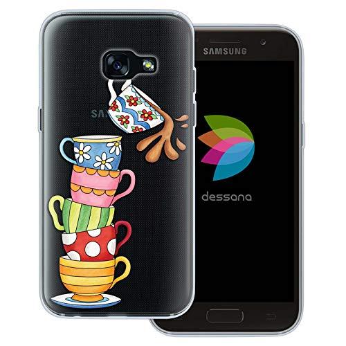 dessana Tea Time Vintage transparante beschermhoes mobiele telefoon case cover tas voor Samsung Galaxy A J, Samsung Galaxy A3 (2017), Theebeker