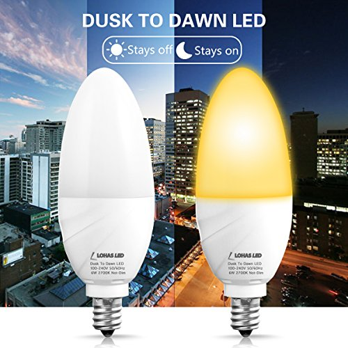 LOHAS Dusk to Dawn Candelabra Light Bulb E12, Smart Light Sensor LED Bulb, 60W Equivalent(6W), Auto ON/OFF Porch Lights, Warm White 2700K, Not Dimmable Security Light Outdoor Lighting(2 Pack)