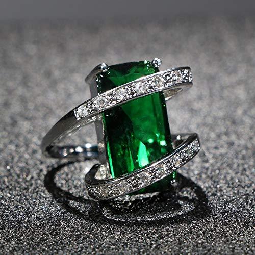 RVXZV 925 Silberringe für Frauen mit 10 * 20mm Smaragd Big Gemstones Hochzeitsfeier Geschenkgröße 6-10 7 Grün