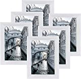 Metrekey 7x5 Glass Photo Frame White Set of 6 Picture Frame Family Friends Baby Frame Wooden for Tabletop and Wall Mounting